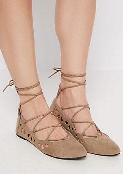 Taupe Lace Up Mock Suede Flat