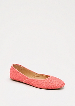 Coral Floral Lace Flat