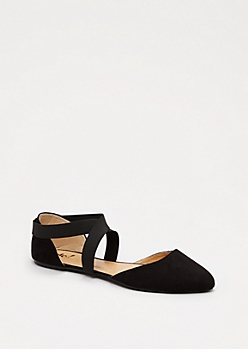 Black Cross-Strap Flat