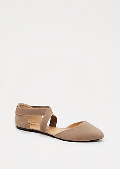 Taupe Cross-Strap Flat