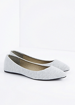 Heather Gray Jersey Pointed Toe Flat