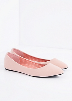 Pink Jersey Pointed Toe Flat