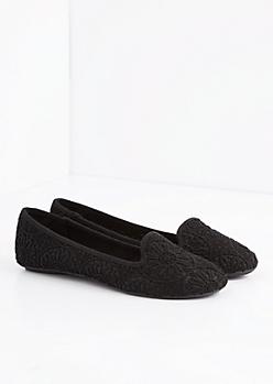 Black Crochet Daisy Flat