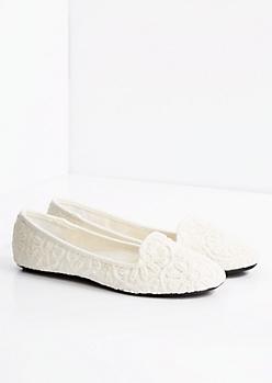 White Crochet Daisy Flat