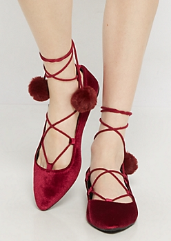 Burgundy Velvet Lace-Up Ballet Flat