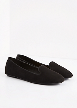 Black Faux Suede Smoking Slipper
