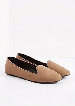 Taupe Faux Suede Smoking Slipper