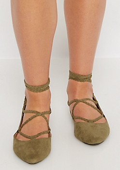 Olive Braided Lace-Up Ballet Flat