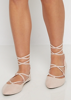 Pink Braided Lace-Up Ballet Flat