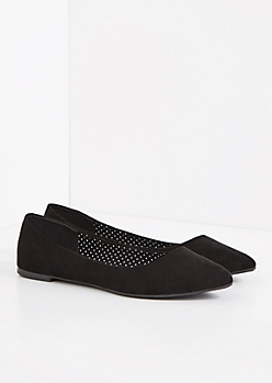 Black Faux Suede Pointed Toe Flat