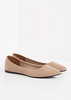 Taupe Faux Suede Pointed Toe Flat
