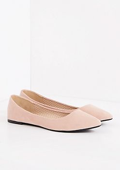 Pink Faux Suede Pointed Toe Flat