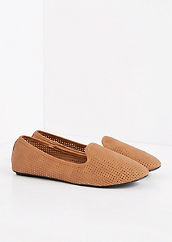 Tan Perforated Smoking Slipper