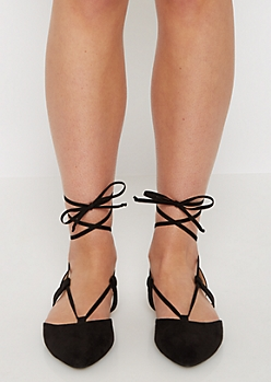 Black Faux Suede Lace-Up Flat