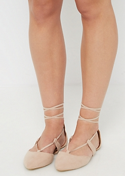 Taupe Faux Suede Lace-Up Flat