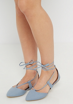 Denim Lace-Up Flat