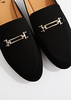 Black Faux Leather Slip-On Loafer