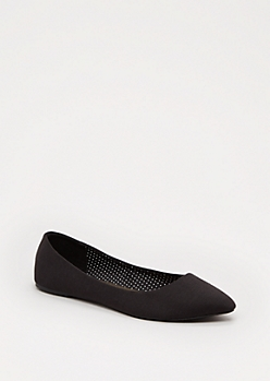 Black Jersey Pointed Toe Flat