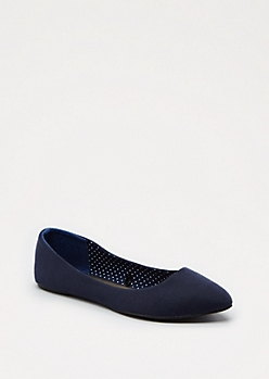 Navy Jersey Pointed Toe Flat