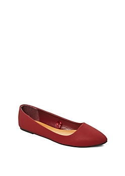 Burgundy Faux Leather Pointed Toe Flat
