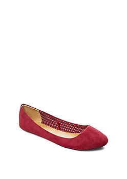 Burgundy Rounded Microsuede Flat