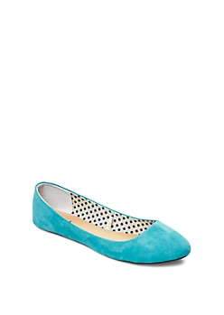 Teal Rounded Microsuede Flat