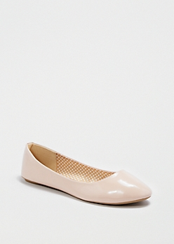 Rounded Faux Patent Leather Flat