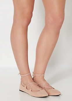 Nude Cross Strapped Ballet Flat