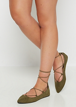 Olive Cross Strapped Ballet Flat