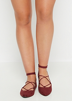 Burgundy Cross Strapped Ballet Flat