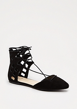 Black Cut-Out Gladiator Flat
