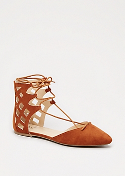 Cognac Cut-Out Gladiator Flat
