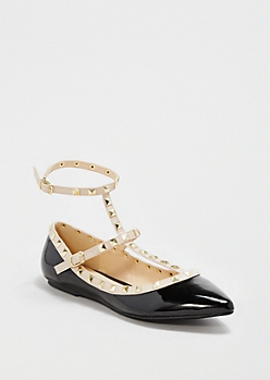 Black Ankle Strapped Flat By Wild Diva®