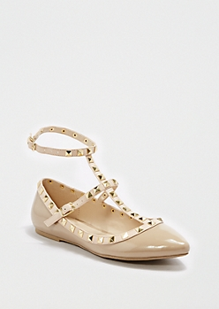 Taupe Ankle Strapped Flat By Wild Diva®