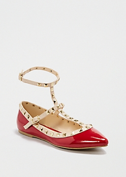 Red Ankle Strapped Flat By Wild Diva®