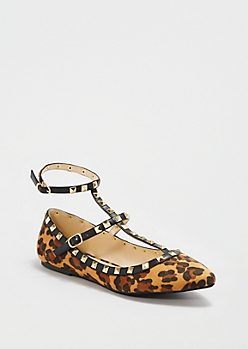 Leopard Ankle Strapped Flat By Wild Diva®