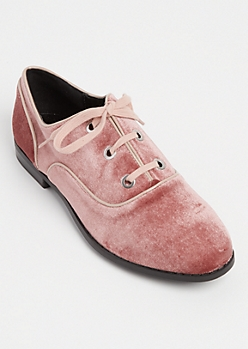 Pink Velvet Lace Up Flat