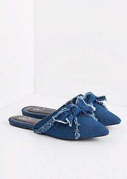 Denim Bow Slip-On Flat