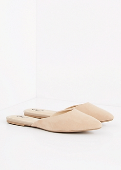 Taupe Faux Suede Pointe Toe Mule
