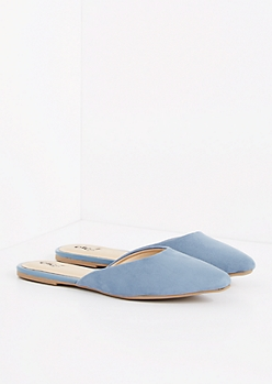 Blue Faux Suede Pointe Toe Mule