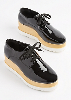 Black Oxford Platform Shoe By Wild Diva