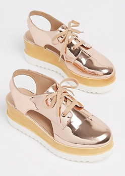 Rose Gold Metallic Open Oxford Platform By Wild Diva