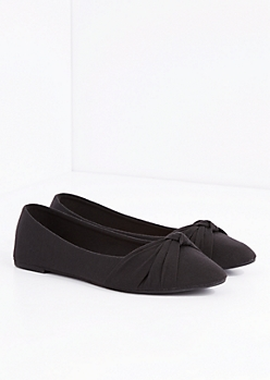 Black Bow Tie Pointed Toe Flat