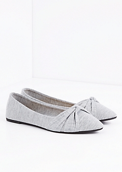 Gray Bow Tie Pointed Toe Flat