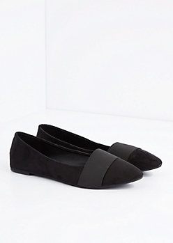 Faux Suede Pointed Tie Flat