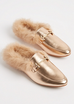 Rose Gold Fur Lined Faux Leather Mule By Yoki