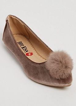 Taupe Faux Suede Pom Flat