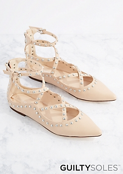Daphne Studded Cage Strap Flat by GuiltySoles