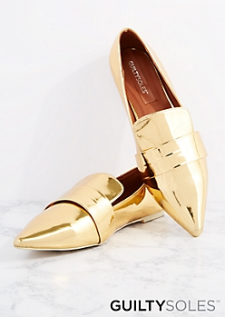 Gold Candice Metallic Loafer By GuiltySoles