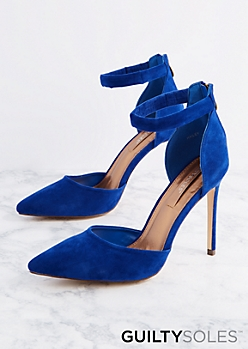 Blue Vegan Suede Ankle Strap Heel by GuiltySoles